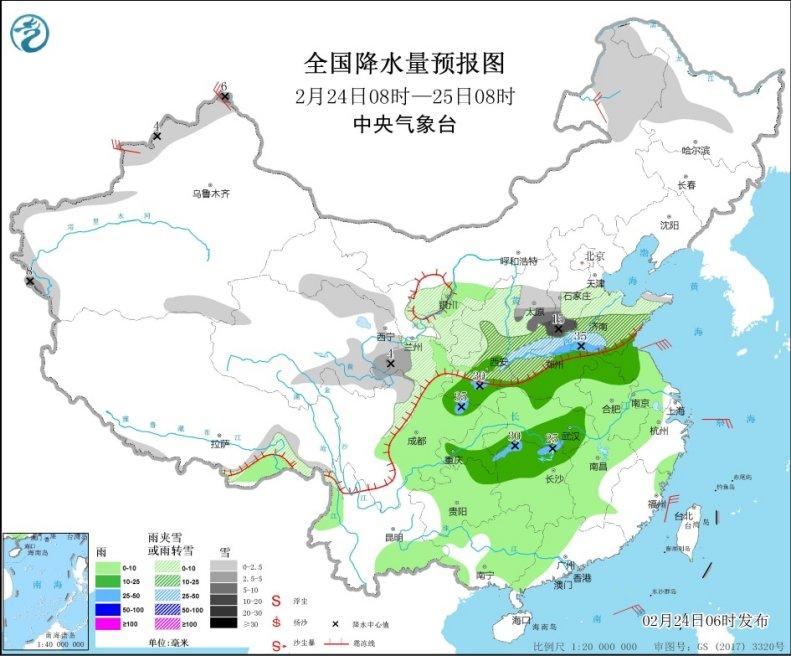 中东部雨雪登场 西北黄淮成降温中心