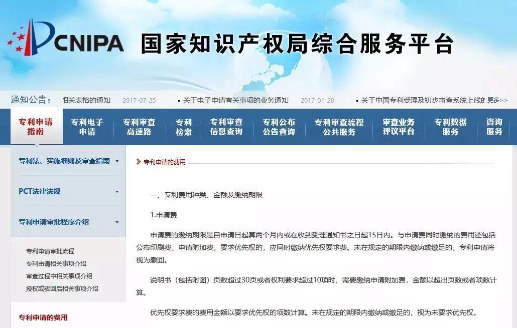 最新!国家知识产权局专利申请费用标准发布